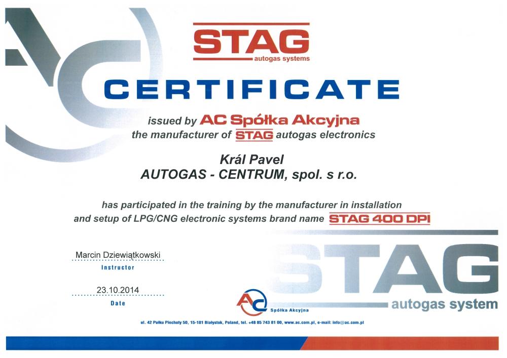 Certifikát AC STAG 400 DPI Král Pavel