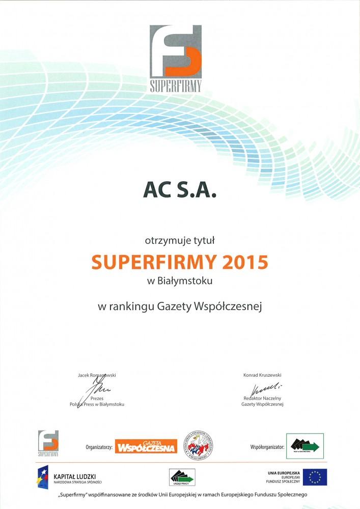 Ocenění firmy AC SA STAG